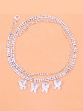 Rhinestone Fashion Butterfly Pendant Anklet For Women