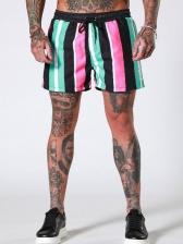 Contrast Color Striped Fitness Short Pants