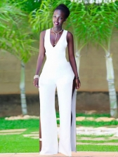 V Neck Solid Hollow Out Jumpsuit