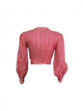 V Neck Striped Long Sleeve Ladies Blouse