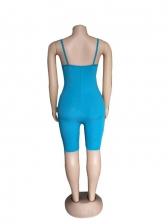 Fashion Zipper Contrast Color Sleeveless Romper