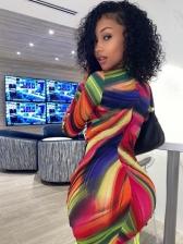 Multicoloured Hollow Out Tie Wrap Short Dresses