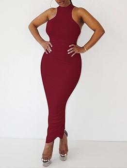 Elegant Solid Pleated Sleeveless Slit Maxi Dress
