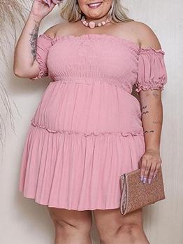 Adorable Plus Size Off Shoulder Short Sleeve Dress