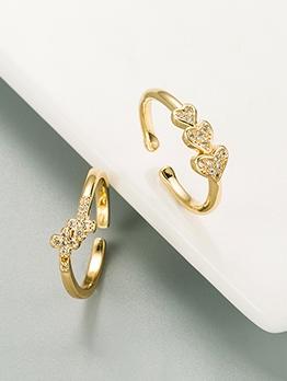Heart Cross Design Zircon Ring For Women