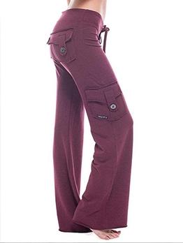 Casual Solid Pocket Drawstring Long Pants