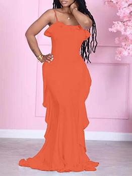 Graceful Solid Sleeveless Ruffles Maxi Dress
