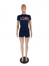 Exercise Letter Short Sleeve Ladies Jogging Suits