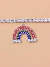 New Rainbow Rhinestone Anklet For Girls