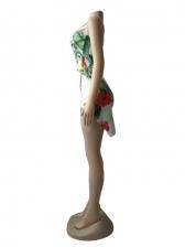 Pretty Flower Slit Square Neck Sleeveless Dress