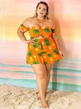 Adorable Pineapple Pattern Halter 2 Piece Skirt Set