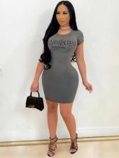 Casual Tight Letter Short Sleeve Short Dress