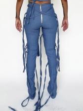 Fashion Ribbon Pure Blue High Waisted Pants