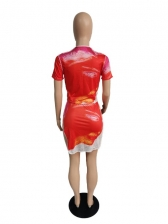 Bright Color Short Sleeve Top With Skirt Printing