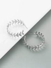 Easy Matching Silver Round Leaf Earring