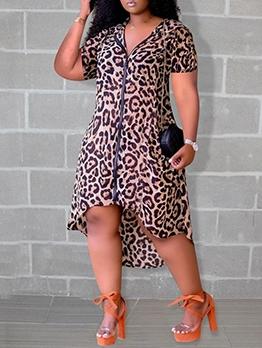 Casual Leopard Zipper Irregular Hem Short Sleeve Dress
