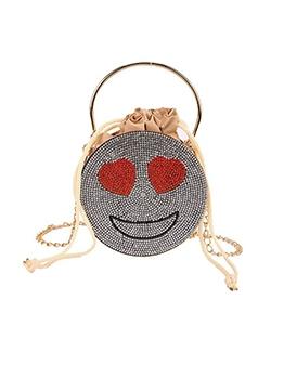 Cute Smile Pattern Drawsting Round Shoulder Bag
