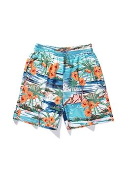 Summer Plant Printed Beach Mens Half Pant