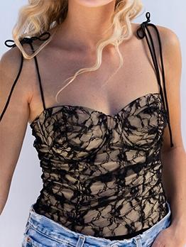 Tempting Lace Tie-Wrap Camisole For Ladies