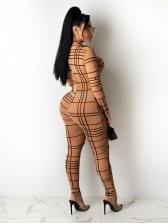Fashion Plaid Tight Long Sleeve Jumpsuit