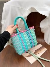 Individual Contrast Color Weave Shoulder Bag