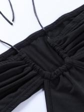 Elegant Solid Halter Slit Maxi Dress