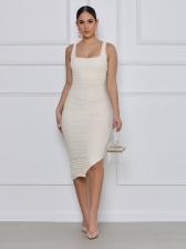 Chic Pure Color U Neck Slit Midi Dress