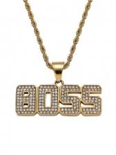 Boss Letter Twist Chain Rhinestone Hit Hop Necklaces