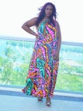 European Multicolored Printed Backless Halter Dresses