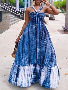 Graceful Blue Print Sleeveless Maxi Dress