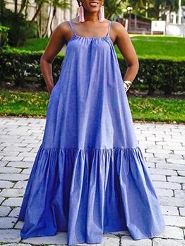 Leisure Loose Fitting Sleeveless Maxi Dress