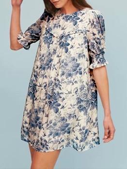 Vintage Print Loose Short Sleeve Dress