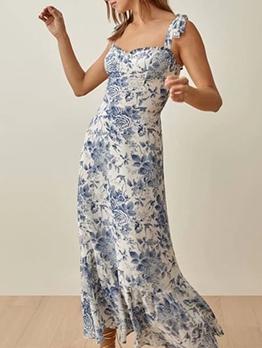 New Print Vintage Sleeveless Maxi Dress