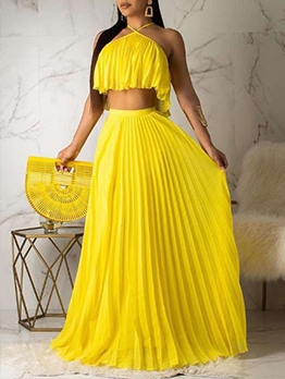 Fashion Pure Color Pleated Top With Long Skirt
