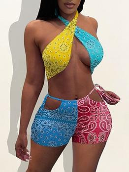 Color Block Halter Printing Two Piece Tank Bikini