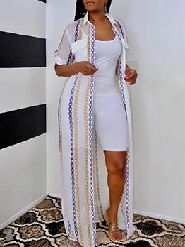 Sexy Gauze Short Sleeve Maxi Dress