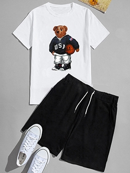 Bear With Ball Printed Two Piece Activewear Sets