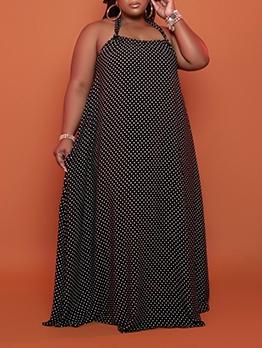 Plus Size Polka Dot Backless Womens Halter Dress