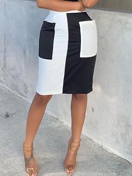Modern Contrast Color Skirt With Pocket