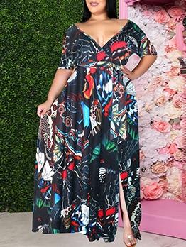 Summer Print Plus Size Maxi Dress