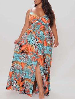New Arrival V Neck Printing Oversized Camisole Dress