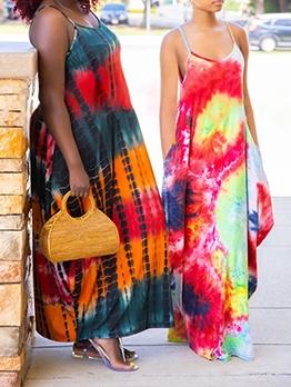 Loose Tie Dye Plus Size Maxi Dress