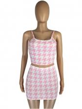 Sweet Houndstooth Sleeveless Crop Top And Skirt Set