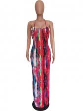Latest Style Tie Dye Backless Sleeveless Maxi Dress