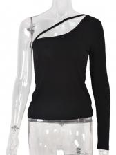 Inclined Shoulder Black Sheath T-Shirt For Women