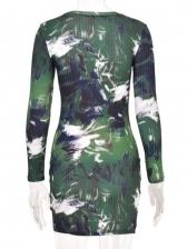 Fashion Tie Dye Print Green Long Sleeve Dresses