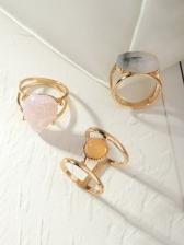 Trendy Inlay Resin Geometry Punk Ring