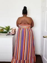 Summer Ruffled Striped Plus Size Strapless Maxi Dress