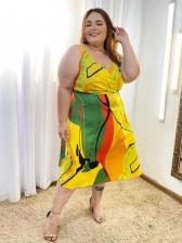 V Neck Vacation Style Plus Size Camisole Midi Dress