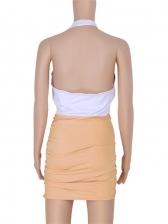 Contrast Color Halter Ruched Mini Dress